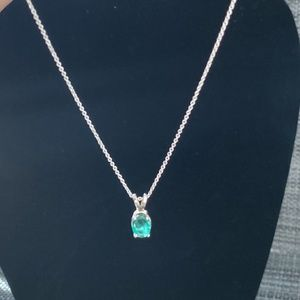 18K White Gold Authentic Emerald Necklace